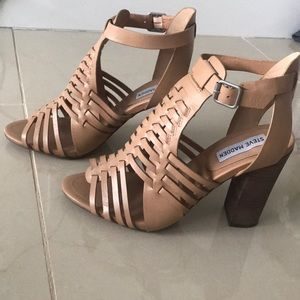 Steven Madden leather woven block heels